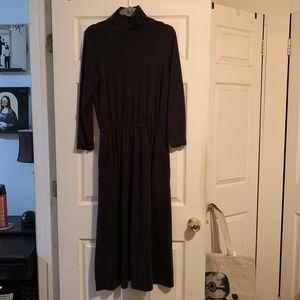L.L. Bean Black Mock Turtleneck Maxi Dress Pockets